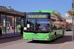 Malmo city bus. Malmo, Sweden - June 27, 2018: A green M.A.N city bus in service for Skanetrafiken public transportation services at the Malmo central station Royalty Free Stock Image