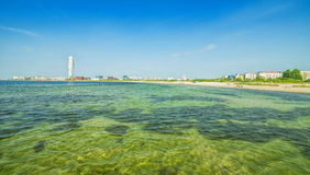 Malmo city coast panorama with urban accents Royalty Free Stock Image