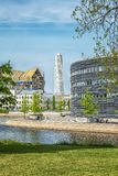 Malmo City Courthouse and Turning Torso. MALMO, SWEDEN - MAY 18, 2018: The distinctive 'teardrop' form of the new courthouse building reflects the contours Royalty Free Stock Image