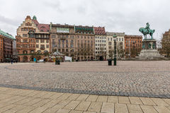 Malmo cityscape Stortorget. Malmo cityscape at Stortorget town square in Sweden Stock Photos