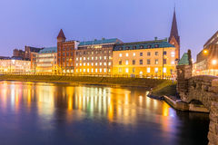 Malmo Cityscape Sweden. Malmo Cityscape downtown at night twilight in Sweden Stock Photography