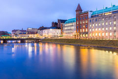 Malmo Cityscape Sweden. Malmo Cityscape downtown at night twilight in Sweden Stock Images