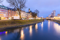 Malmo Cityscape Sweden. Malmo Cityscape downtown at night twilight in Sweden Royalty Free Stock Photo