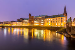 Malmo Cityscape Sweden. Malmo Cityscape downtown at night twilight in Sweden Royalty Free Stock Photos