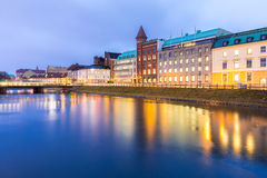Malmo Cityscape Sweden. Malmo Cityscape downtown at night twilight in Sweden Royalty Free Stock Image