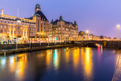 Malmo Cityscape Sweden. Malmo Cityscape downtown at night twilight in Sweden Royalty Free Stock Images