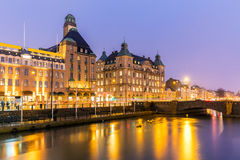 Malmo Cityscape Sweden. Malmo Cityscape downtown at night twilight in Sweden Stock Photo