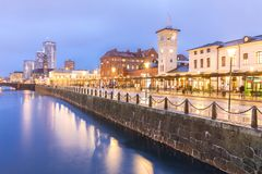 Malmo Cityscape Sweden. Malmo Cityscape downtown at night twilight in Sweden Stock Photos