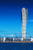 Malmo Cityscape with Turning Torso. MALMO, SWEDEN - JUNE 26, 2015: Malmo Cityscape with Turning Torso as Distinctive Landmark of this Swedish Town. Malmo is the Royalty Free Stock Photography