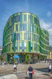 Malmo Glasvasen Modern Building. MALMO, SWEDEN - MAY 18, 2018: The new block, the Glass Vase, in south harbor of Malmo, close to the city. The designer sees it Stock Image