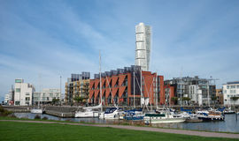 Malmo harbour and Turning Torso Stock Images