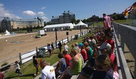 Malmo Horse Show. 5th August 2015. Day two of Malmö City Horse Race 2015. Crowd watching the dressage team competition part 1 Royalty Free Stock Photo