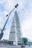 MALMO - JUNUARY 1: Grattacielo del torso di tornitura su Junuary 1, 2014 a Malmo, la Svezia Progettato da Santiago Calatrava Fotografie Stock Libere da Diritti