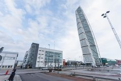 MALMO - JUNUARY 1: Turning Torso skyscraper on Junuary 1, 2014 in Malmo, Sweden. Designed by Santiago Calatrava. Turning Torso building in Malmö, Sweden Stock Photos