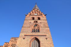 Malmo landmark. Malmo, Sweden - brick church tower. City in Scania county (Skane in Swedish) and Oresund region Royalty Free Stock Photography