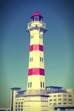 Malmo landmark. Malmo, Sweden - the lighthouse. City in Scania county (Skane in Swedish) and Oresund region. Cross processed retro color style Royalty Free Stock Images