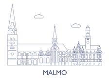 Malmo, le costruzioni più famose della città Fotografie Stock Libere da Diritti