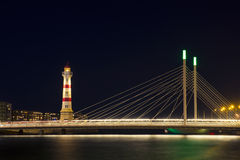 Malmo. Lighthouse and bridge in night Malmo Stock Photography
