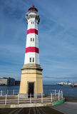 Malmo Lighthouse. MALMO, SWEDEN - OCTOBER 26: Famous white lighthouse in Malmo, Sweden near the bridge and harbour. The image was taken on October 26,2014 Stock Photography