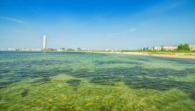 Malmo miasta wybrzeża panorama z miastowymi akcentami Obraz Royalty Free