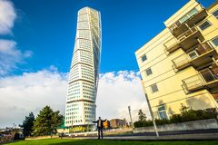 Malmo - October 22, 2017: The modern Turning Torso building in M. Almo, Sweden Royalty Free Stock Photos