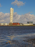 Malmo sea view, Sweden. The Scandinavian city of Malmo seen from the sea Stock Images