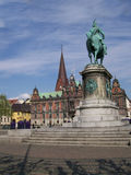 Malmo square. View of Malmo city hall from the nearby square Royalty Free Stock Image