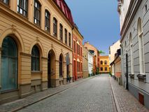 Malmo street - Sweden. Street from the old town of Malmo - Sweden Royalty Free Stock Photography