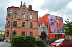 MALMO SVERIGE - MAJ 31, 2017: ingång av det Moderna museetMalmö museet av modernt och samtida konst som lokaliseras i Malmö, Sv royaltyfria bilder