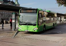 Malmo city bus. Malmo, Sweden - August 24, 2017: Green city bus in service on line 7 at Malmo central station Stock Images