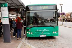 Malmo bus with destination Hylle. Malmo, Sweden - August 24, 2017: A green city bus in service for the public transportation company Skanetrafiken has stopped at Royalty Free Stock Images