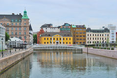 Malmo, Sweden. Beautiful quay in a cloudy summer day Royalty Free Stock Image