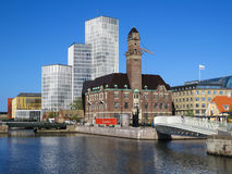 Malmo, Sweden. Downtown Malmo with old and modern buildings, Sweden Royalty Free Stock Photos