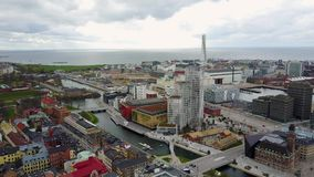 Aerial view of Turning Torso Skyscraper in Sweden stock video footage