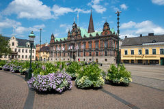 Malmo, Sweden. JULY 20: People visit the main square on July 20, 2015 in . After Stockholm and Gothenburg, Malmo is the 3rd most visited city in Sweden royalty free stock images
