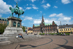 Malmo, Sweden. JULY 20: People visit the main square on July 20, 2015 in . After Stockholm and Gothenburg, Malmo is the 3rd most visited city in Sweden Stock Photo
