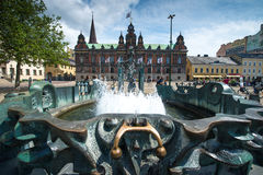 Malmo, Sweden. JULY 20: People visit the main square on July 20, 2015 in . After Stockholm and Gothenburg, Malmo is the 3rd most visited city in Sweden Royalty Free Stock Image