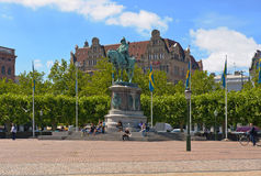 Malmo. SWEDEN - JUNE 30: Equestrian statue of Charles X Gustav at Stortorget square on June 30, 2014 in Stock Images