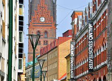 Malmo, Sweden. MARCH 14: Facades of houses on the main pedestrian street of  on March 14, 2013. Malmo is the capital and most populous city in Skane County Royalty Free Stock Images