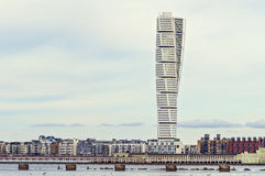MALMO, SWEDEN - March 12. 2017. The west harbor area with the Turning Torso. Stock Photography