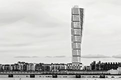 MALMO, SWEDEN - March 12. 2017. The west harbor area with the Turning Torso. MALMO, SWEDEN - March 12. 2017. The west harbor area with the Turning Torso on Stock Photos