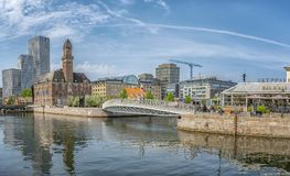 Malmo Cityscape Panorama. MALMO, SWEDEN - MAY 18, 2018: Cityscape of old and new architecture in Malmo, Sweden. After Stockholm and Gothenburg, Malmo is the 3rd Royalty Free Stock Images