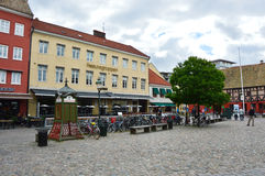 MALMO, SWEDEN - MAY 31, 2017: Lilla Torg characteristic little square in Malmo with restaurants and cafes, Sweden Royalty Free Stock Images