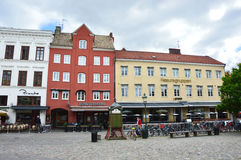MALMO, SWEDEN - MAY 31, 2017: Lilla Torg characteristic little square in Malmo with restaurants and cafes, Sweden Stock Photo