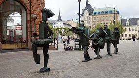 MALMO, SWEDEN - MAY 31, 2017: Optimistorkestern, The Optimists Orchestra are sculptures in bronze at Sodergatan street, created by. Yngve Lundell to celebrate Stock Photos
