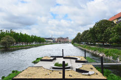 MALMO, SWEDEN - MAY 31, 2017: Palaces and park that overlook the canal of Malmo, Sweden Stock Images