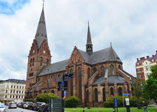 MALMO, SWEDEN - MAY 31, 2017: Sankt Petri kyrka is a large church in Malmö it is built in the Gothic style. And has a 105-metre 344 ft tall tower, Malmo Stock Photo
