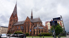 MALMO, SWEDEN - MAY 31, 2017: Sankt Petri kyrka is a large church in Malmö it is built in the Gothic style and has a 105-metre 34 Stock Photography