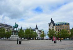 MALMO, SWEDEN - MAY 31, 2017: Stortorget square with the equestrian statue of King Karl X Gustav, Malmo, Sweden.  Stock Image