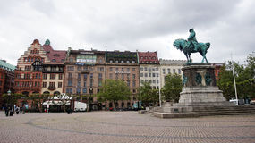MALMO, SWEDEN - MAY 31, 2017: Stortorget square with the equestrian statue of King Karl X Gustav, Malmo, Sweden.  Royalty Free Stock Images